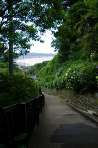 成就院から見える由比ヶ浜と材木座海岸の海岸