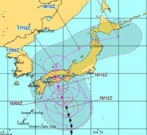 米軍の台風11号の進路予測1