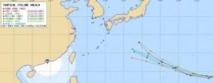 アジアの台風12号の進路予想
