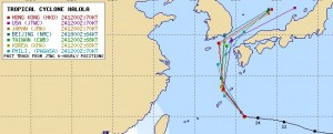 アジアの台風12号(ハロラ)の進路予想