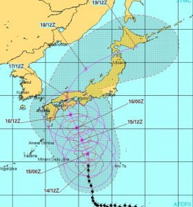 アメリカ米軍の台風11号の進路予測20150714