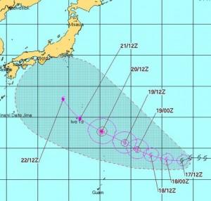 米軍の台風12号の進路予想