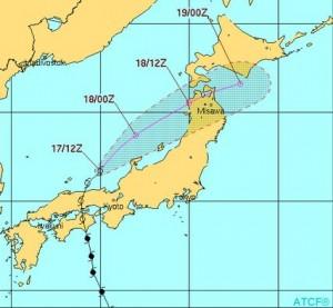 米軍の台風11号の進路予想