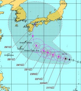 米軍の台風12号(ハロラ)の進路予想