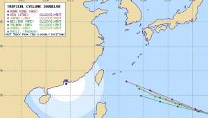 アジアの台風13号(ソウデロア)の進路予想