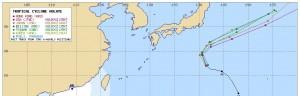 アジアの台風14号(モラヴェ)の進路予想