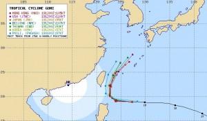 アジアの台風15号の進路予想
