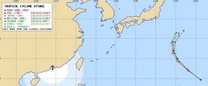 アジアの台風16号の進路予想