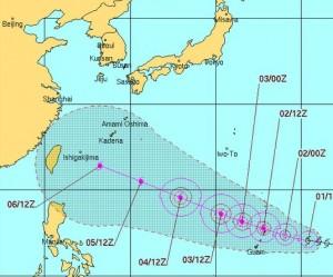 米軍の台風13号(ソウデロア)の進路予想