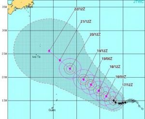 米軍の台風17号の進路予想