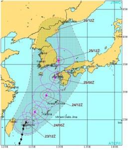 米軍の台風15号の進路予想