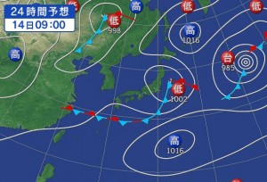 8月14日の天気予想図