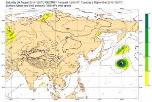 ヨーロッパの台風17号(KILO)の進路予想