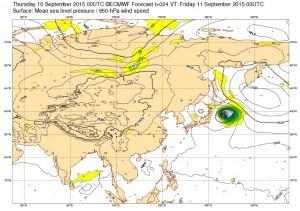 ヨーロッパの台風17号(キロ)の進路予想