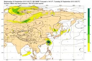 ヨーロッパの台風21号(ドゥージェン)の進路予想