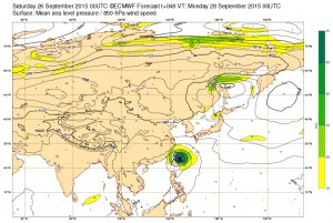 ヨーロッパの台風21号(ドゥージェン)の進路予想1