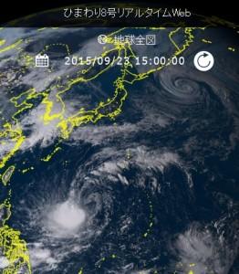 気象衛星ひまわり8号の台風21号(ドゥージェン)の画像