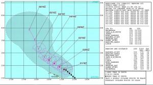 米軍のハリケーンIGNACIOの進路予想