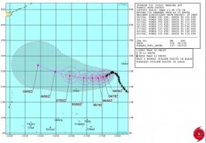 米軍の台風17号(KILO)の進路予想