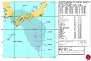 米軍の台風18号(アータウ)の進路予想
