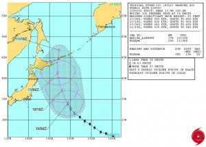 米軍の台風17号(キロ)の進路予想