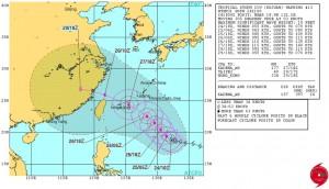 米軍の台風21号(ドゥージェン)の進路予想