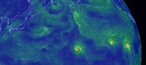 太平洋上の3つのハリケーン