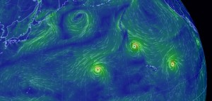 太平洋上の台風とハリケーン