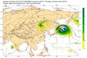 ヨーロッパの台風23号(チョーイワン)の進路予想
