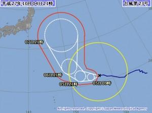 気象庁の台風23号(チョーイワン)の進路予想