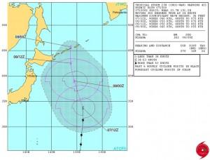 米軍の台風23号(チョーイワン)の進路予想