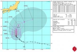 米軍の台風25号(チャンパー)の進路予想