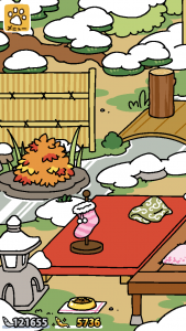 池と床の間の雪景色(ねこあつめ)