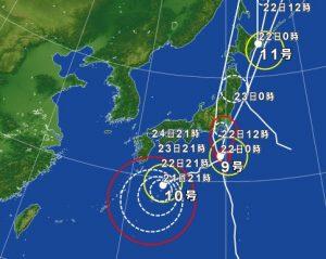 台風の進路予測2016年8月22日