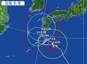 台風5号の進路予想(2017年8月4日)