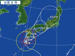 台風5号の進路予想(2017年8月6日)