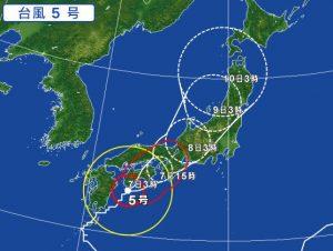 台風5号の進路予想(2017年8月7日)