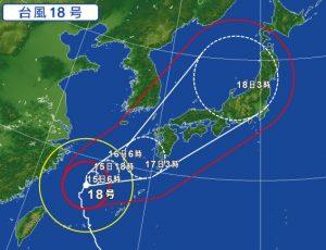 台風18号の進路予想(2017年9月15日)