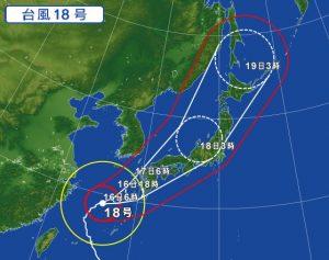 台風18号の進路予想(2017年9月16日)