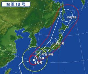 台風18号の進路予想(2017年9月17日)