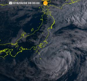 気象衛星ひまわりの台風13号の画像(2018/8/8 06:30)
