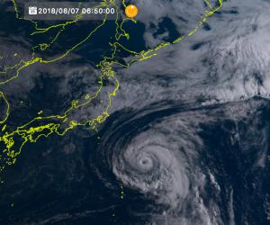 気象衛星ひまわりの台風13号の画像(2018/8/7)